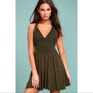 Lulu's Olive Green Lace Skater Dress